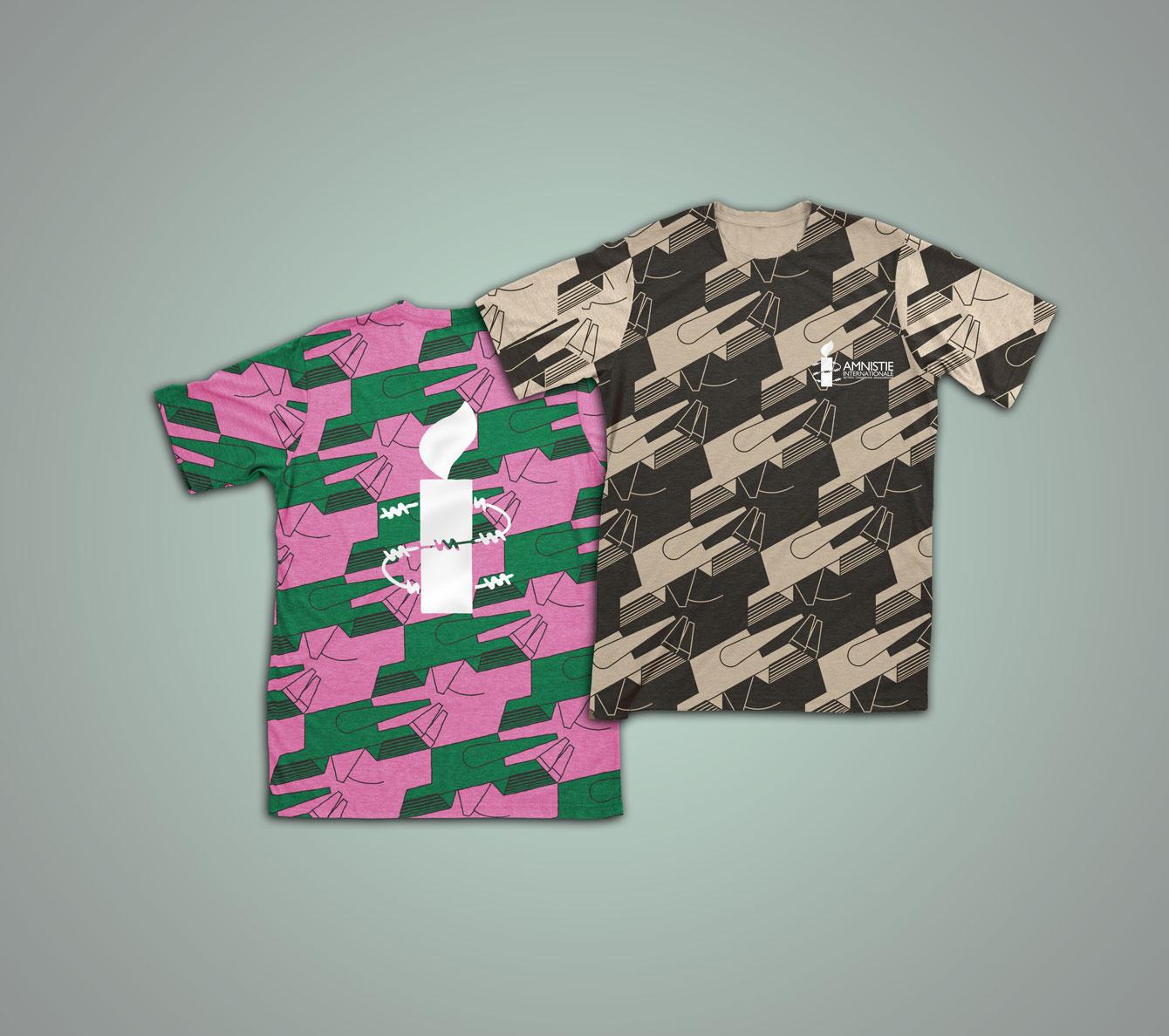 T-shirt Escher noir et couleur face et dos